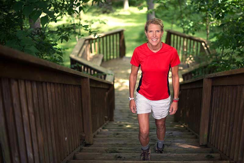 Karin Daun climbing stairs after hip surgery