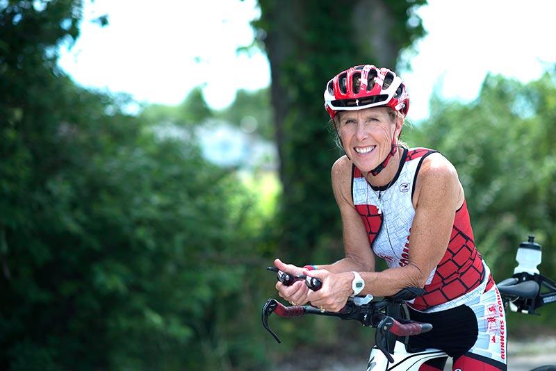 Karin Daun on her bicycle